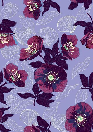 Hand drawn seamless pattern with beautiful flowers and leaves on lilac background. Archivio Fotografico - 141329856
