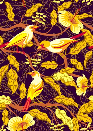 Bright tropical birds on branches with exotic flowers and leaves.