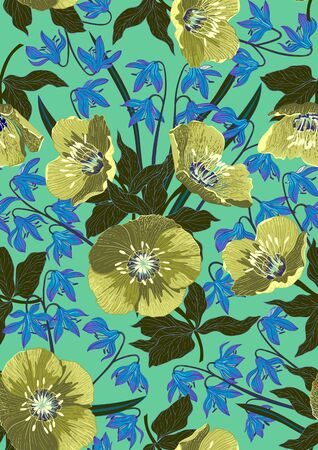 Handmade drawn seamless pattern with beautiful spring flowers and leaves. Vector illustration, retro style. Archivio Fotografico - 141329859