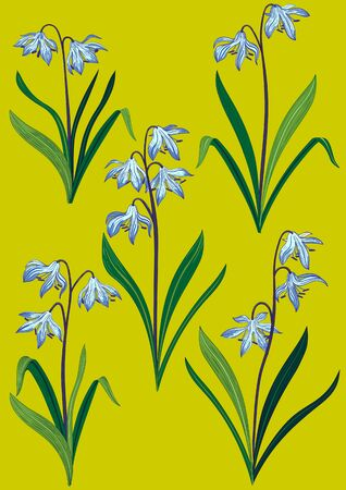 Colorful set of bluebell flowers with stem and leaves. Handmade drawing vector illustration.