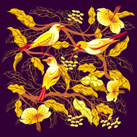 Bright tropical birds on branches with exotic flowers and leaves. Handmade drawing vector illustration. All objects are isolated on separate layers. It can be used in textiles, illustrations, etc.