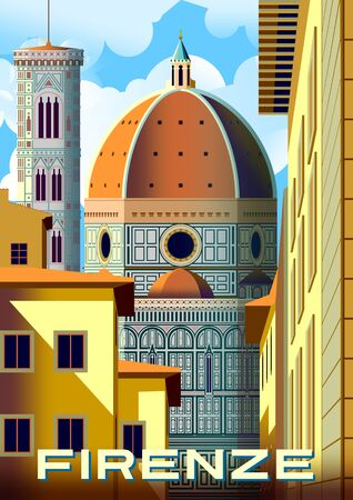 Cityscape with traditional houses and the Cathedral of Santa Maria del Fiore with the Bell Tower in the background in Florence, Italy. Handmade drawing vector illustration. Retro style poster.