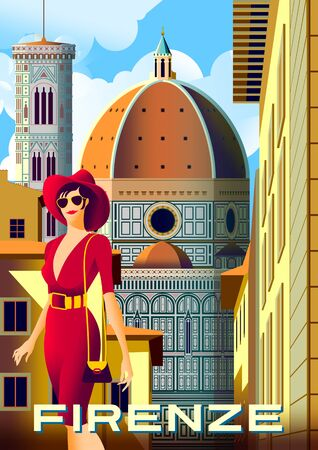 Young woman on the street in front of the Santa Maria del Fiore Cathedral in Florence, Italy. Handmade drawing vector illustration. Retro poster.