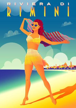 Girl on the beach on the Adriatic coast in Rimini, Italy. Vintage Art Deco style poster. Handmade drawing vector illustration.