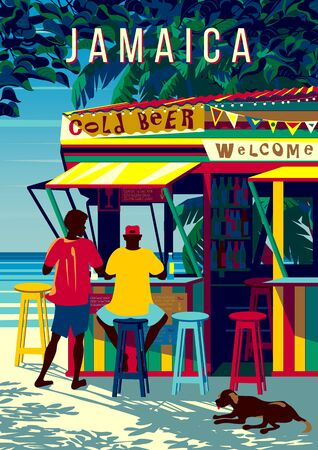 Jamaica island landscape with people in a traditional beach bar, palm trees and the sea in the background. Handmade drawing vector illustration. Retro style poster. Archivio Fotografico - 142051953