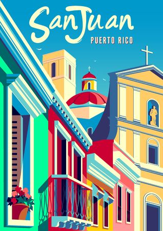 Old San Juan, Puerto Rico, fantasy cityscape with traditional houses and cathedral in the background. Handmade drawing vector illustration. Retro style poster. Vettoriali