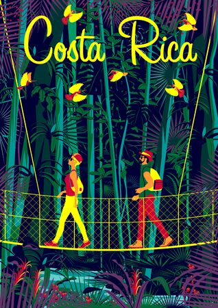 A man and a woman on a suspension bridge in the rainforest in Costa Rica. Handmade drawing vector illustration. Pop art style poster.