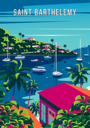St. Barthelemy Island landscape with traditional caribbean houses, palm trees, yachts, island and the sea in the background. Archivio Fotografico - 143762808