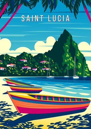 St. Lucia Island landscape with traditional caribbean boats, palm trees, island and the sea in the background. Handmade drawing vector illustration. Retro style poster. Archivio Fotografico - 142054809