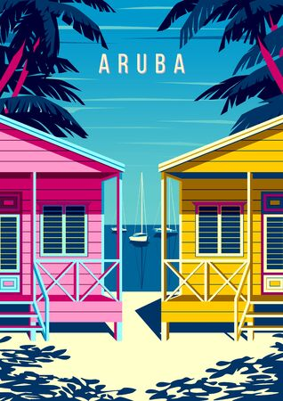 Aruba Island landscape with traditional beach bungalows, palm trees, yachts and the sea in the background. Handmade drawing vector illustration. Retro style poster. Archivio Fotografico - 142054783