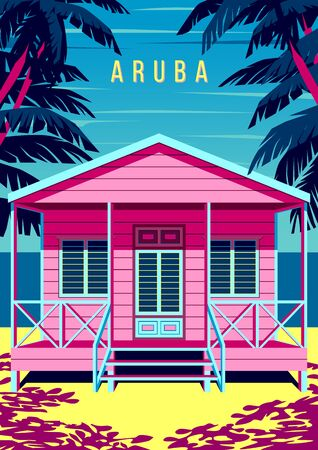 Aruba Island landscape with traditional beach bungalow, palm trees, yachts and the sea in the background. Handmade drawing vector illustration. Retro style poster.