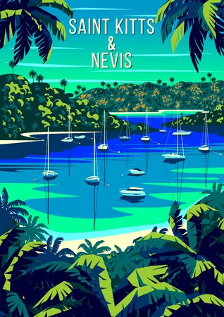 St. Kitts and Nevis Islands landscape with palm trees, yachts, islands and the sea in the background. Handmade drawing vector illustration. Retro style poster. Archivio Fotografico - 142054948