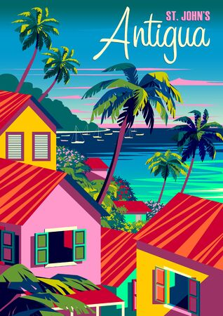 Antigua cityscape with traditional caribbean houses, palm trees, boats and the sea in the background. Handmade drawing vector illustration. Retro style poster. Archivio Fotografico - 142055040