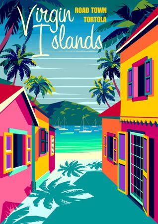 British Virgin Islands cityscape with traditional caribbean houses, palm trees, boats and the sea in the background. Handmade drawing vector illustration. Retro style poster. Vettoriali