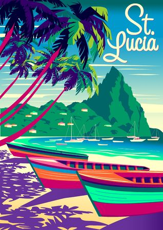 St. Lucia Island landscape with traditional caribbean boats, palm trees, island and the sea in the background. Handmade drawing vector illustration. Retro style poster. Archivio Fotografico - 142055111