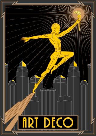 Prometheus with a torch against the background of skyscrapers.