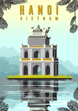 Ngoc Son Temple in lake in Hanoi, Vietnam. Archivio Fotografico - 144632847
