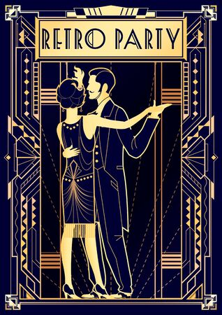 Dancing couple at a party in the style of the early 20th century. Retro party invitation card. Handmade drawing vector illustration. Art Deco linear style.