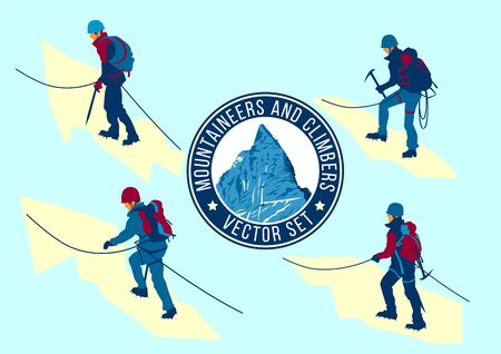 Set of vector flat mountaineers and climbers. Handmade drawing vector illustration. Retro minimalist style. Archivio Fotografico - 146381944