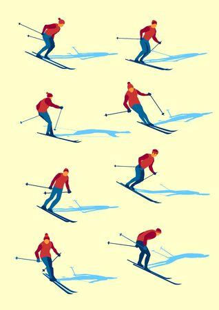 Set of vector flat mountain skiers. Handmade drawing vector illustration. Retro minimalist style. Vettoriali