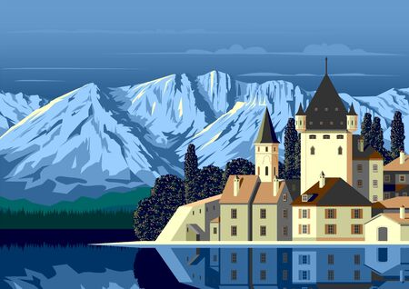 Alpine landscape with a medieval castle in the first plan, a lake and mountains in the background.