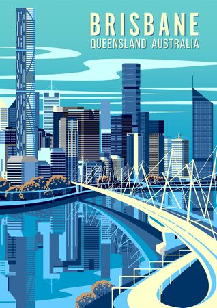 Cityscape of Brisbane, capital of Queensland, Australia with bridge, river and downtown in the background. Handmade drawing vector illustration. Pop art style poster. Vettoriali