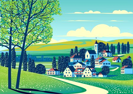 Rural landscape with fields, meadows, village, trees and hills in the background. Handmade drawing vector illustration. Minimalism style poster.