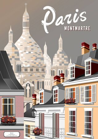 Street in the old town of Paris in the style of the early 20th century. Handmade drawing vector illustration.