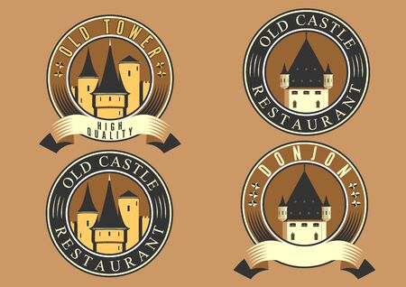 Castles and fortresses flat design vector icon set.