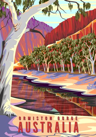 Natural landscape in Ormiston Gorge in West MacDonnell National Park, Australia. Archivio Fotografico - 146386091
