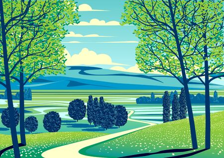 Summer rural landscape with trees, fields, meadows and hills in the background. Handmade drawing vector illustration. Retro style poster. Archivio Fotografico - 146386837