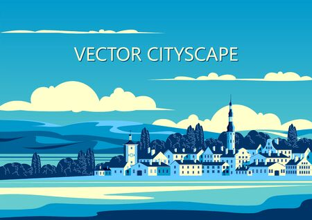 Rural landscape with the small town, trees and hills in the background. Handmade drawing vector illustration. Pop art style poster.