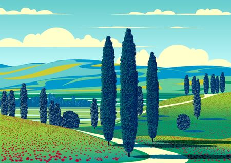 Summer rural landscape with trees, fields, meadows and hills in the background. Handmade drawing vector illustration. Retro style poster. Archivio Fotografico - 146395737