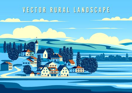 Rural landscape with the small town, trees and hills in the background. Handmade drawing vector illustration. Minimalism style poster. Archivio Fotografico - 146398518