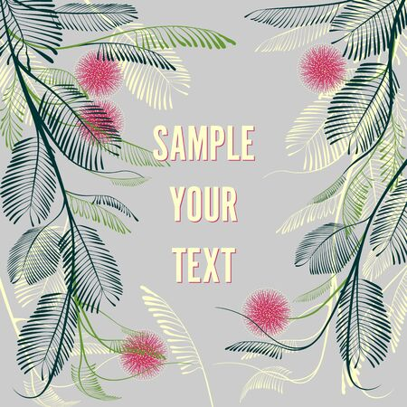 Greeting card template with mimosa flowers and leaves. Handmade drawing vector illustration. Can be used to create greeting cards, wedding cards, banners, etc. Vettoriali