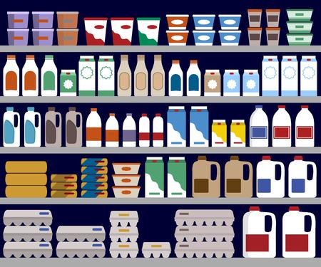 leche y derivados: estantes de los supermercados con productos lácteos Vectores