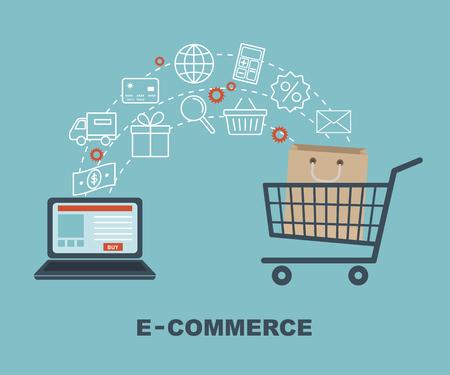 technology transaction: Shopping and e-commerce graphic design with icons