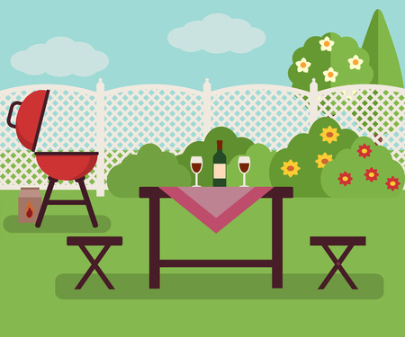 cartoon summer: Summer picnic in garden. Resting in a sunny day. Weekend concept.