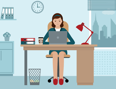 woman behind: Business woman or a clerk working at her office desk Illustration