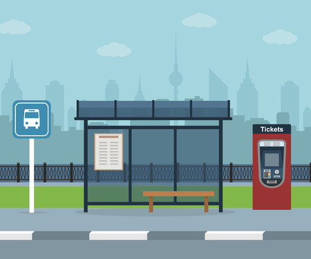 Bus stop with city background Stock Illustratie