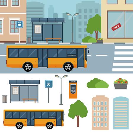 buisson: Bus dans la rue dans la ville illustrations plats.