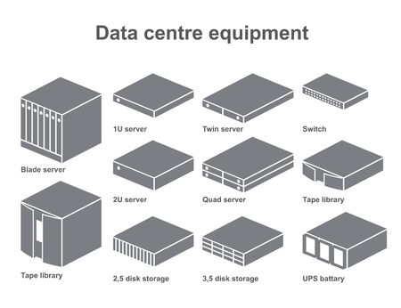 equipos de la sala de servidores establecido. Colección del icono del centro de datos
