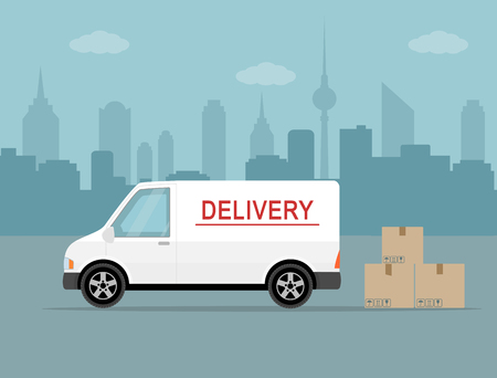 transport of goods: White delivery van with shadow and cardboard boxes on city background. Product goods shipping transport. Fast service truck Illustration