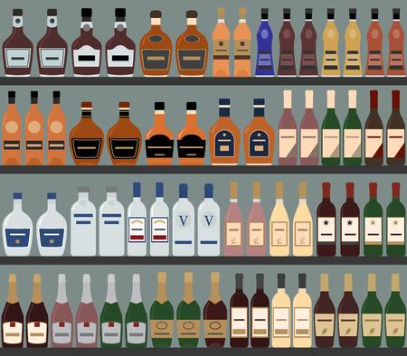 scaffali dei supermercati con l'alcol. Vector background. Seamless pattern