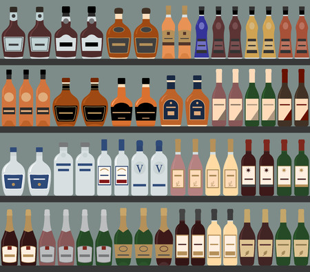 liquors: Supermarket shelves with alcohol. Vector background. Seamless pattern