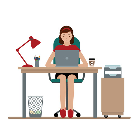 Business woman or a clerk working at her office desk. Flat style modern vector illustration. Illustration