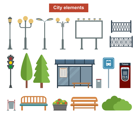 City and outdoor elements for construction of landscapes, Vector flat illustration