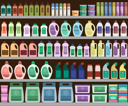 aisle: Household supplies aisle in the supermarket, shelves filled with cleaning products. Vector background.