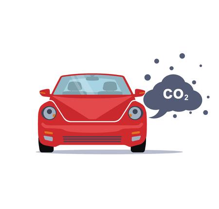 dioxido de carbono: emite Car dióxido de carbono. estilo plano. ilustración vectorial Vectores