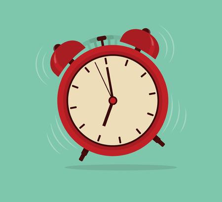 Wekker, wake-up tijd. Vlakke stijl vector illustratie Vector Illustratie
